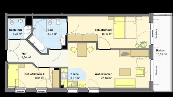 Grundriss wohnung 3 zimmer  Wohnungen - DANA Lebensstil Lauenburg